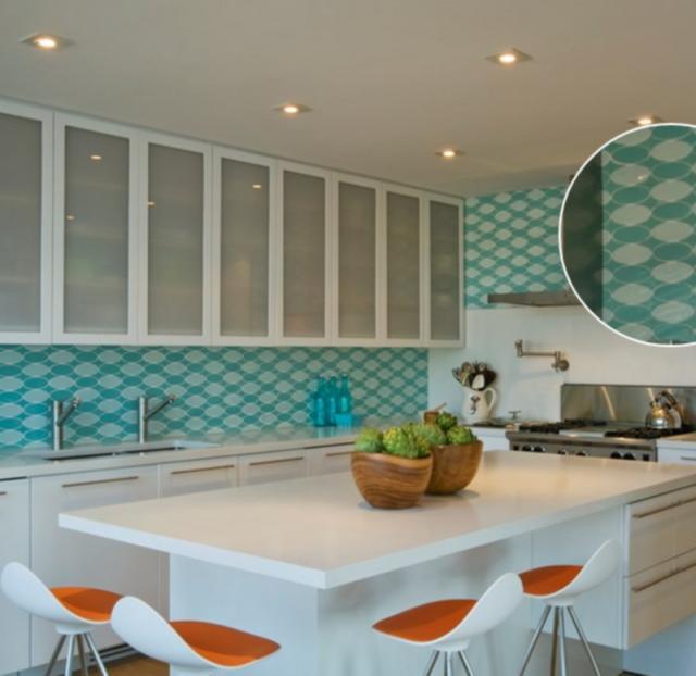 Как выбрать современный дизайн рабочей стенки/фартука для кухни - ретро-модерн из 60-х, овальная двуцветная плитка