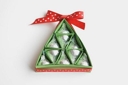 Как упаковать конфеты в виде новогодней елки?