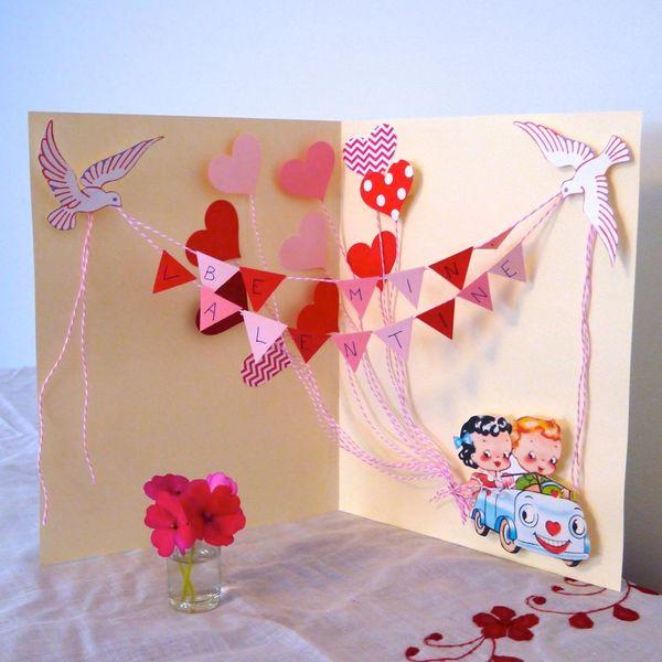 объемная открытка-раскладушка на День святого Валентина своими руками