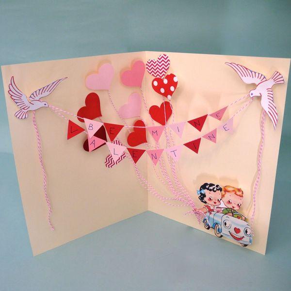 готовая объемная открытка-раскладушка на День святого Валентина