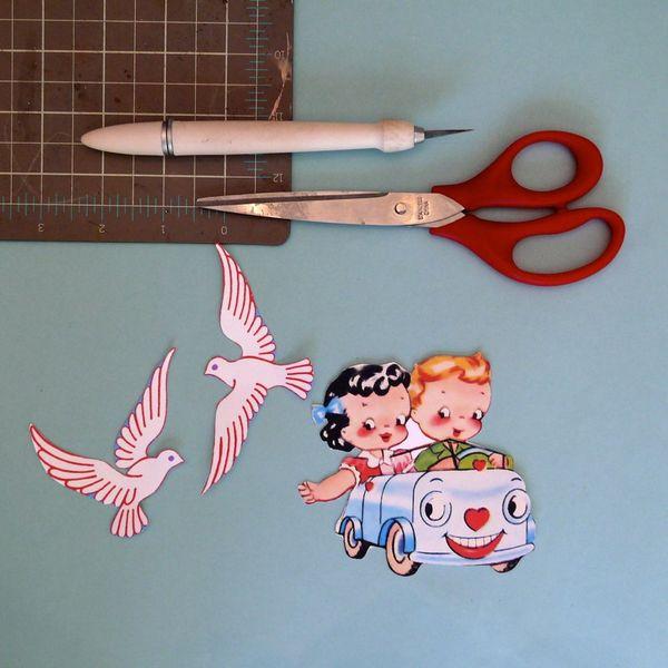 ножницы, ручка, карандаш, голуби, машина