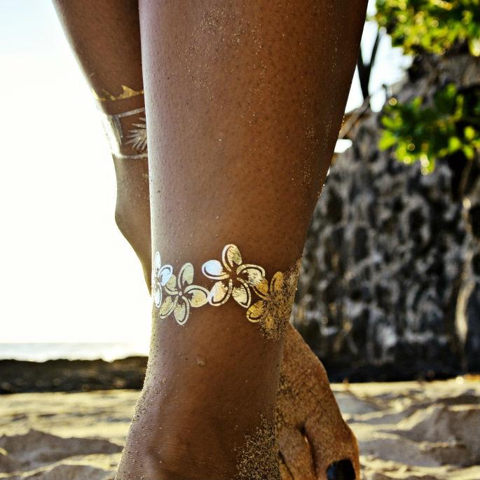 металлик-тату (временные татуировки): ножные браслеты