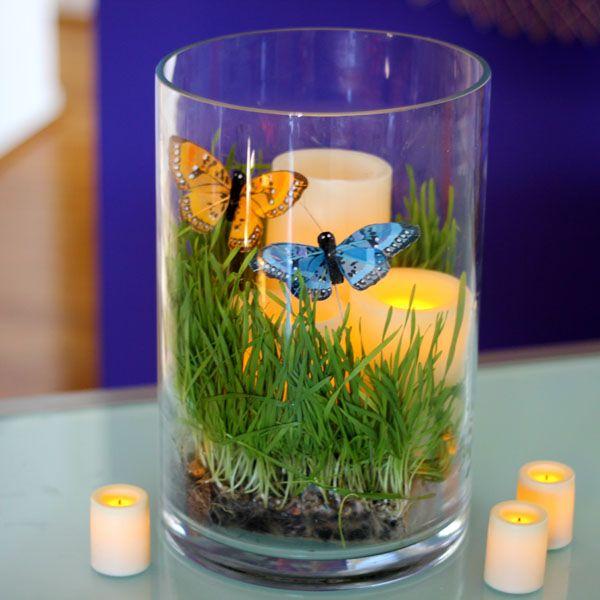 композиция-террариум из молодой травы с LED-свечами на батарейках