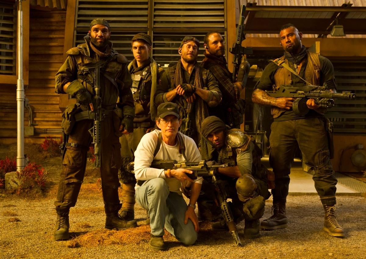 Девид Туи с командой охотников за головами/наемников на съемках фильм «Риддик 3» (Riddick) 2013, осень