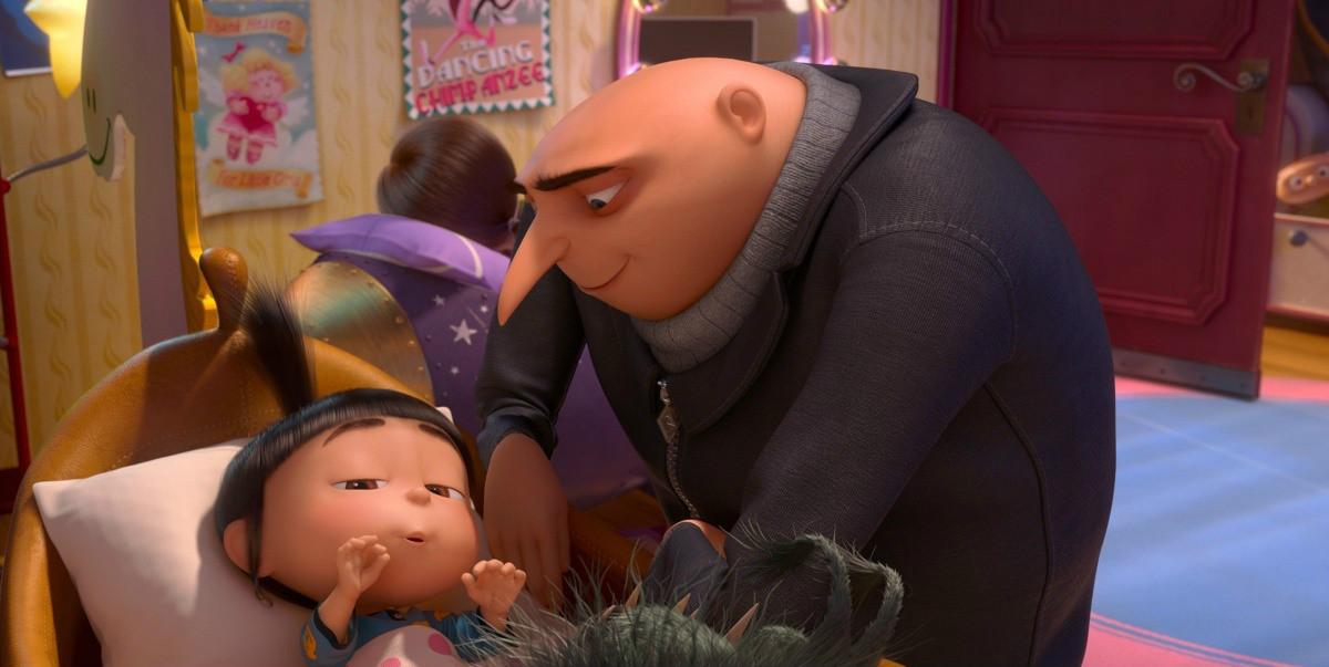 Гадкий я 2 (Despicable Me 2): кадры из мультфильма - Грю и девочки дети, укладывает спать