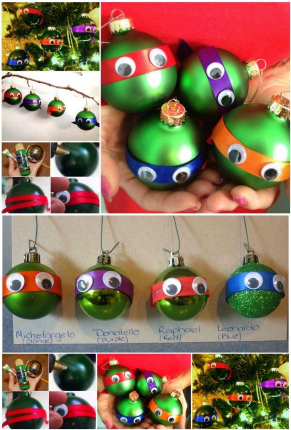 Зеленые елочные шары, полоски цветной бумаги или ткани и googly eyes (или глаза, склеенные из черной и белой цветной бумаги) – получаем мультипликационных Черепашек-ниндзя