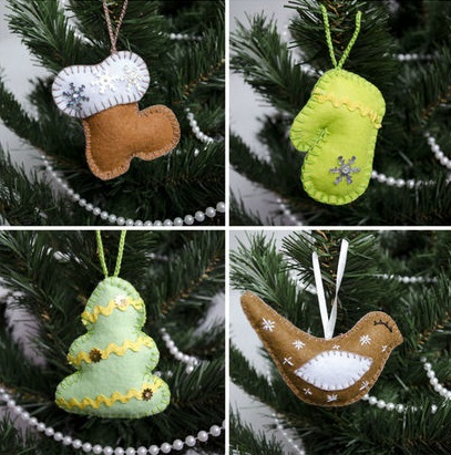 Как делать елочные игрушки своими руками: фетр, елка, птичка, варежка, сапог