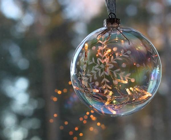 Гирлянда с лампочками в прозрачном елочном шаре со снежинкой