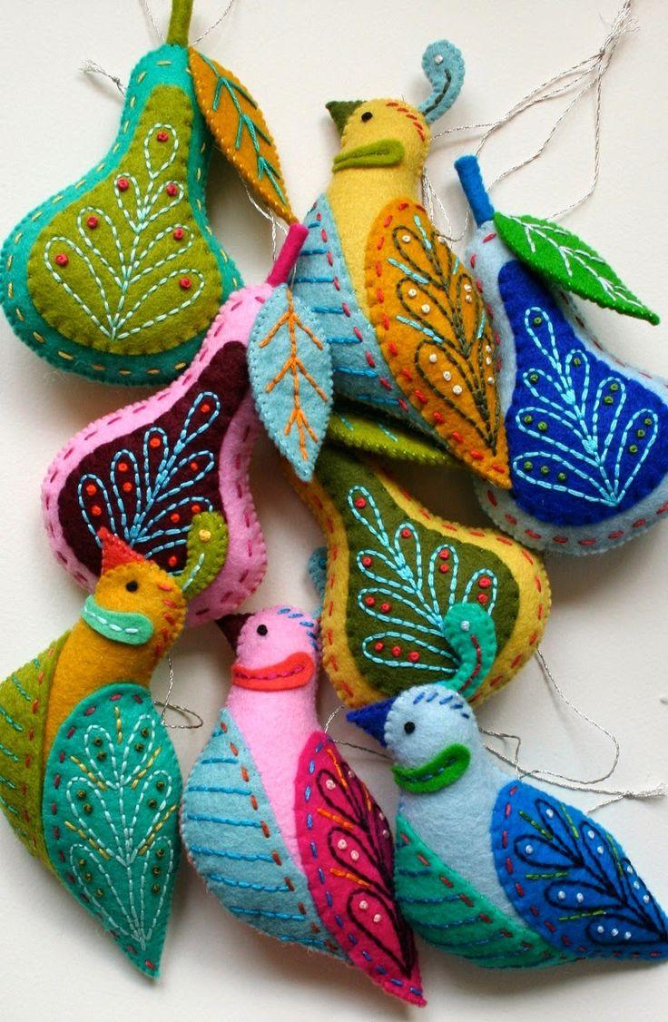 Как делать елочные игрушки своими руками: фетр, птички