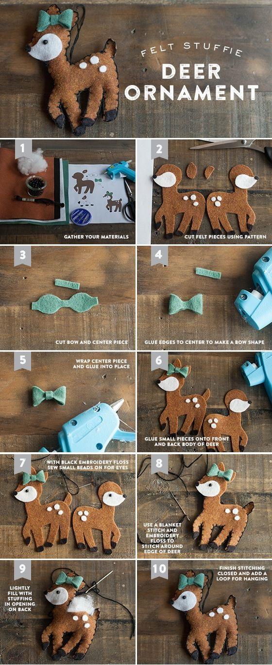 Как делать елочные игрушки своими руками: фетр, олень, пошаговая инструкция в картинках