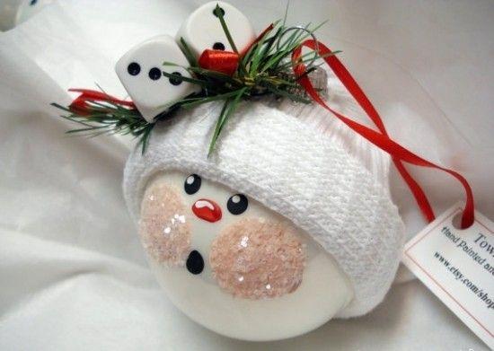 К небольшим штрихам кистью на елочном шаре и блесткам на клею добавляем вязаную шапочку и искусственную еловую ветку с красной лентой
