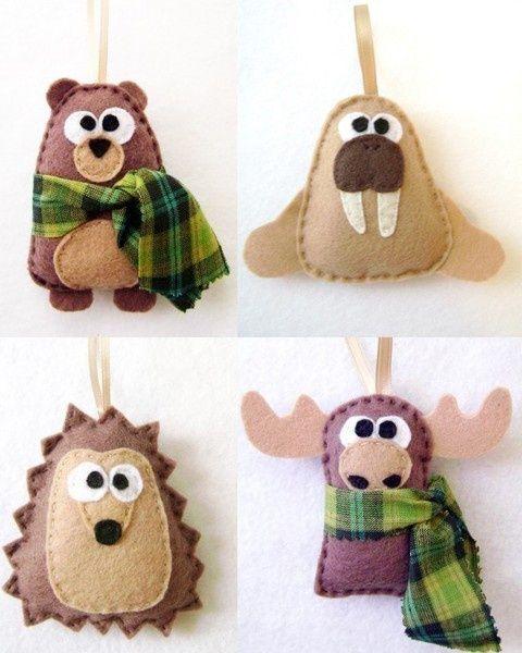 Как делать елочные игрушки своими руками: фетр - морж, олень, медведь, ежик