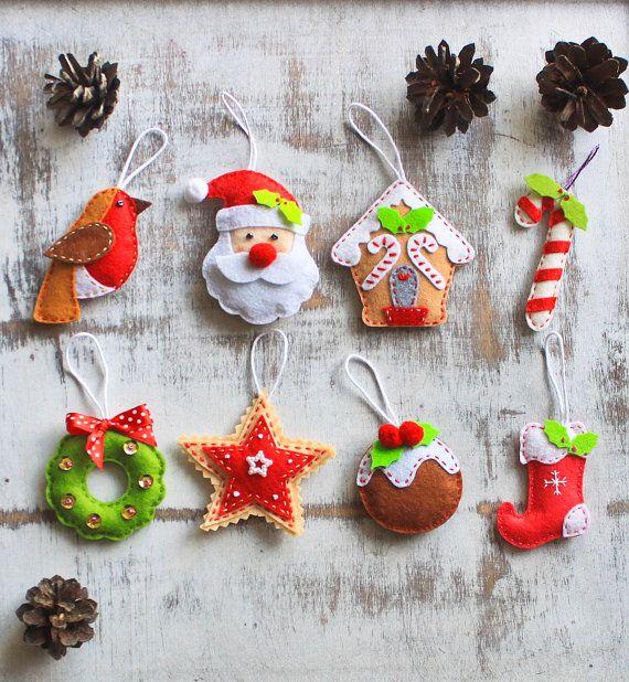 Как делать елочные игрушки своими руками: фетр, тематический рождественский набор елочных игрушек