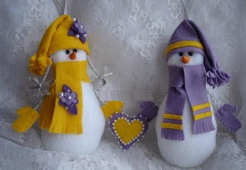 Как делать елочные игрушки своими руками: фетр, объемные игрушки - снеговики