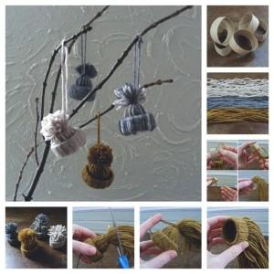 Как делать елочные игрушки своими руками: зимние шапки с помпоном