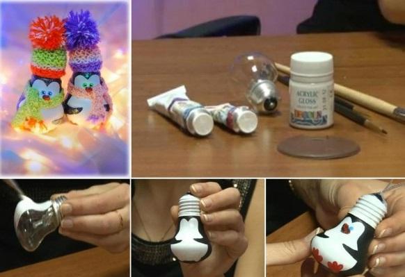 Как делать елочные игрушки своими руками: пингвины из лампочек - пошаговая инструкция в картинках