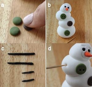 Фиксируем эти пуговицы на снеговике спереди с небольшим смещением относительно друг друга, как и у самих частей снеговика