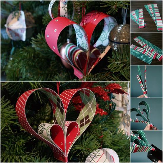 Шикарные елочные игрушки из полосок бумаги: сердце