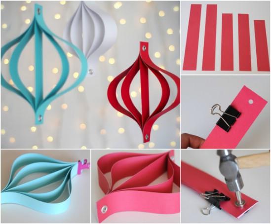 Шикарные елочные игрушки из полосок бумаги: плоский фонарик
