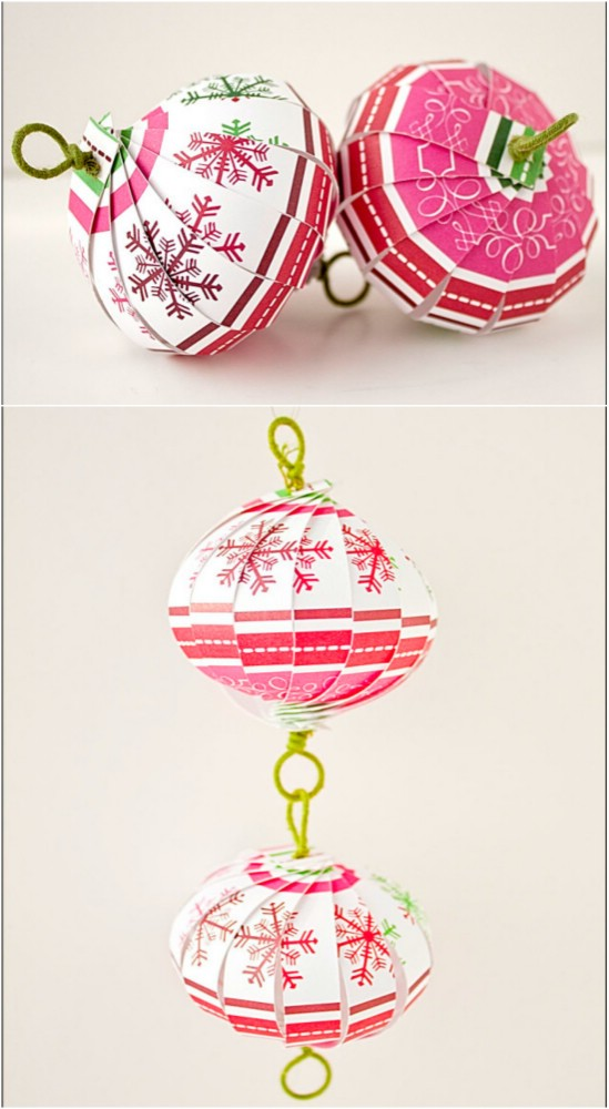 Шикарные елочные игрушки из полосок бумаги: елочный шар