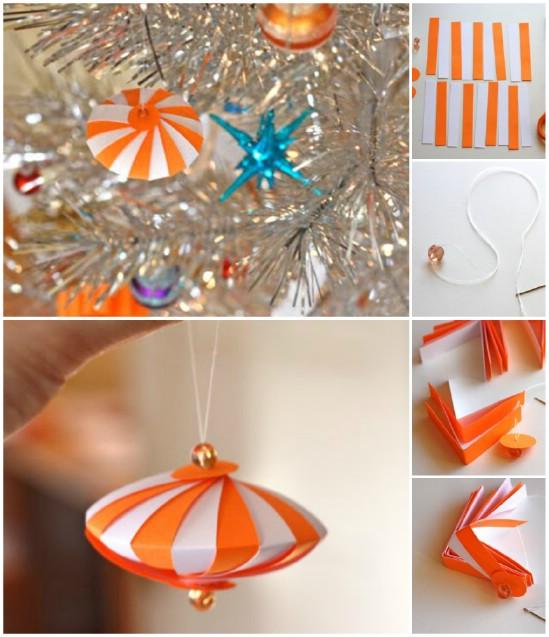 Шикарные елочные игрушки из полосок бумаги: шар со сгибами