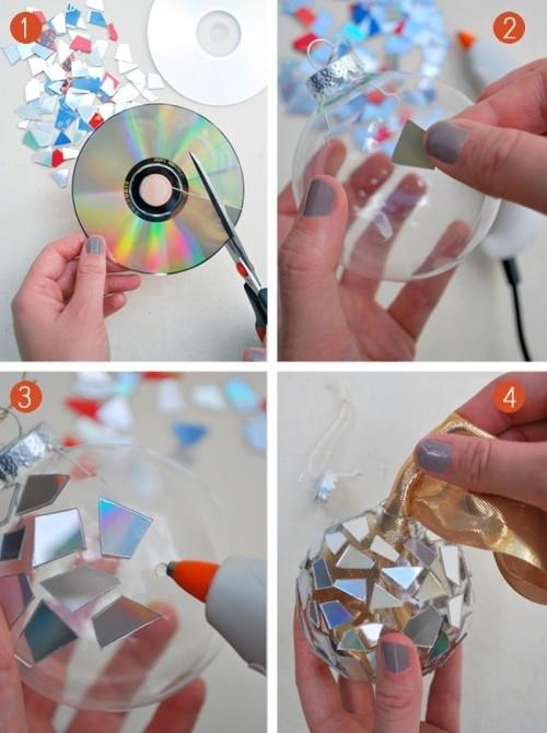 Как делать елочные игрушки своими руками: сценки и отдельные элементы в прозрачных пластиковых шарах, оклеиваем кусочками дисков