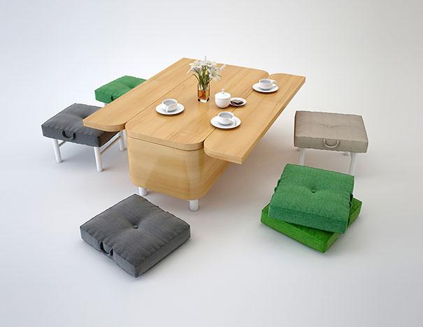 Диван-трансформер: стол с табуретами