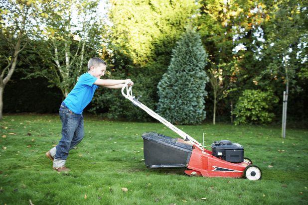 ребенок стрижет газон газонокосилкой
