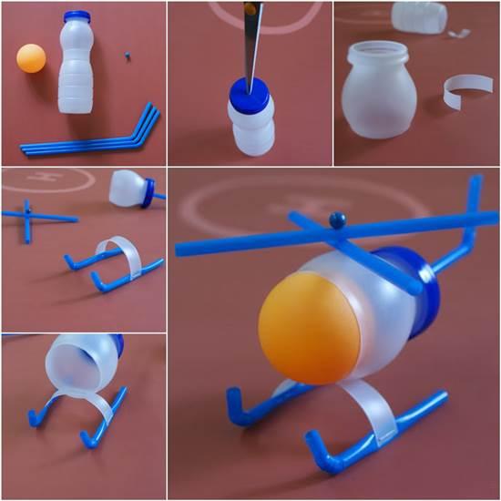 вертолет из пластиковой баночки из под йогурта и питьевых трубочек - пошаговая инструкция в картинках