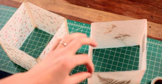 фонарики из вощеной бумаги с гербарием или конфетти