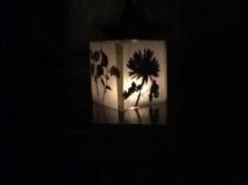 Как сделать для свечей фонарики-плафоны из сухих цветов и вощеной бумаги - зажженный фонарик в темноте