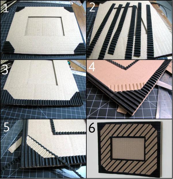 Как создавать удивительной красоты фоторамки из гофрированного картона - с черным картоном, пошаговая инструкция в картинках