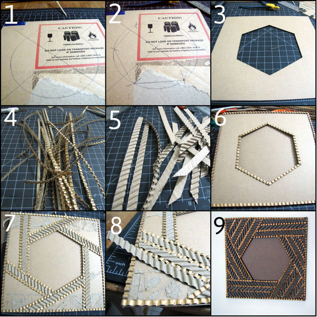 Как создавать удивительной красоты фоторамки из гофрированного картона - шестиугольник, пошаговая инструкция в картинках