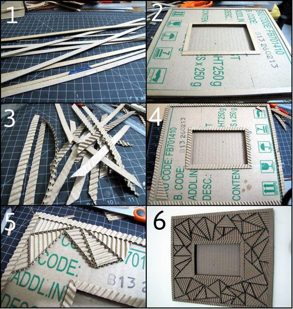 Как создавать удивительной красоты фоторамки из гофрированного картона - кубизм, абстракция из треугольников, пошаговая инструкция в картинках