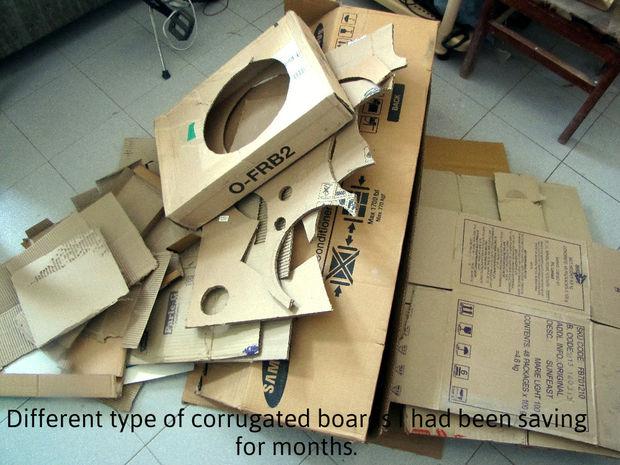 Картон для данного проекта (со всеми его пробами и ошибками) собирался в течение месяца, не покупался: это всевозможная упаковка от самых разных товаров