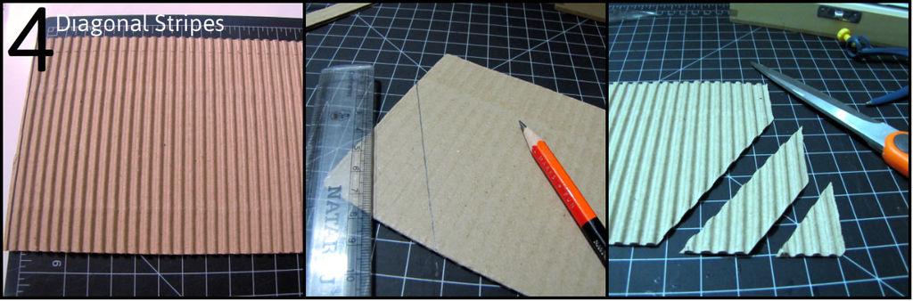 Нарезаем треугольников по диагонали гофрированного листа
