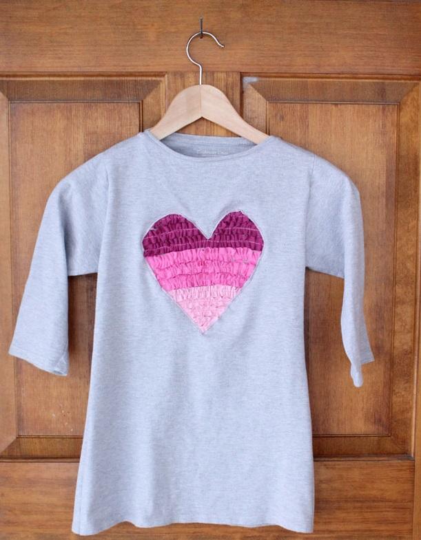 Как сделать футболку/подушку/сумку с сердечком-«гофре»