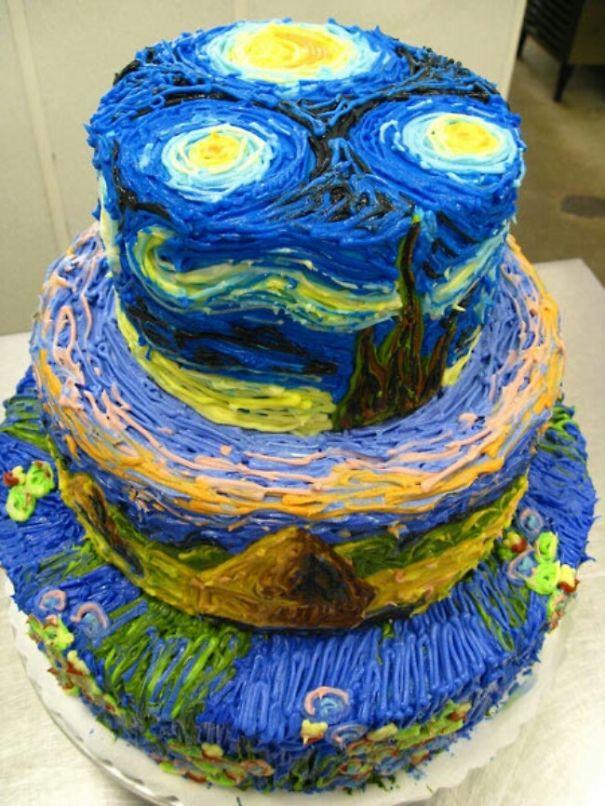 Торт-картина: сюрреализм Ван Гога «Звездная ночь»