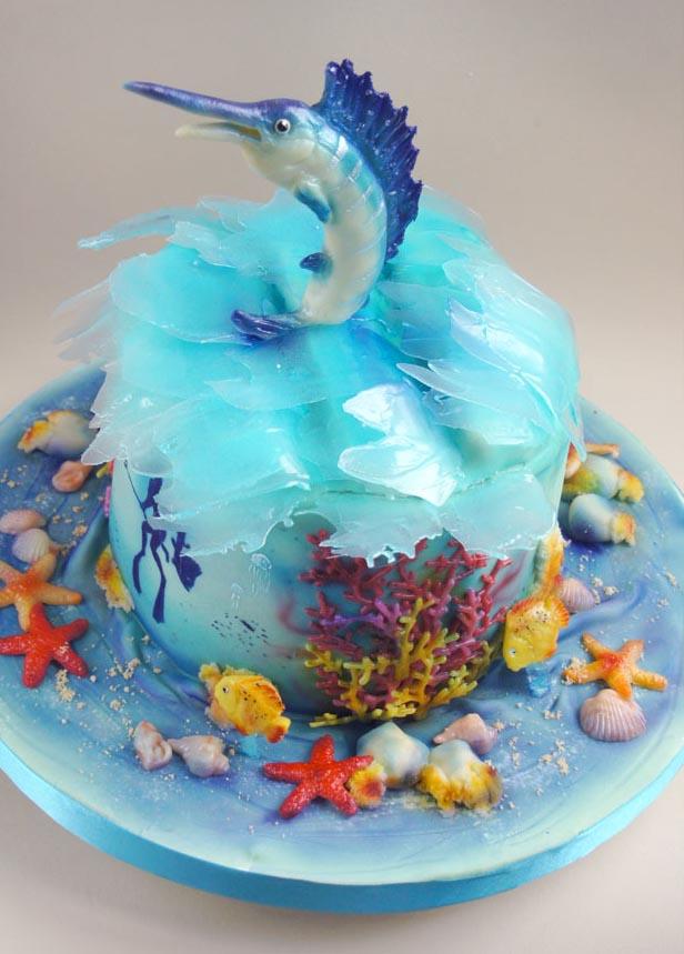 Торт-подводное царство и марлинь из «Старика и море»