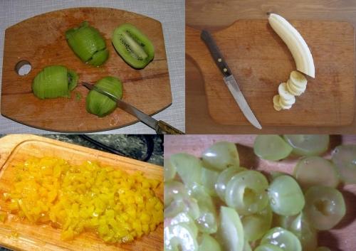 нарезанные фрукты киви бананы манго виноград