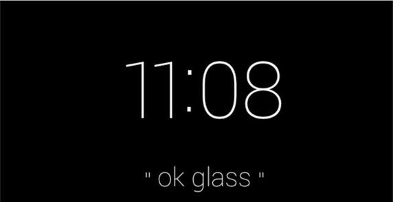 очки-компьютер Гугл Глас (Google Glass) дисплей время и первая голосовая подсказка команда