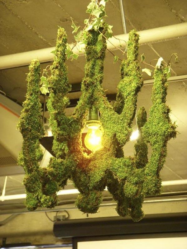 эко-граффити из мха: лампа, украшенная живым мхом