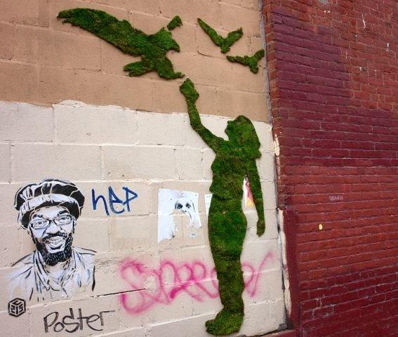 Как создаются эко-граффити из мха