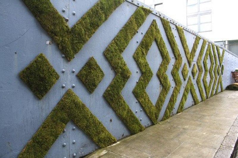 эко-граффити из мха: графичный рисунок на металле
