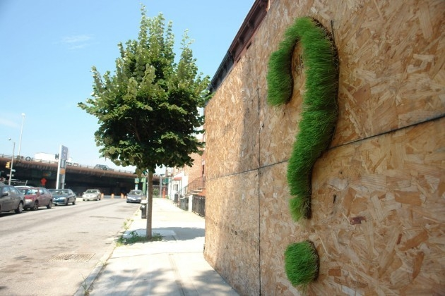 эко-граффити из мха: знак вопроса