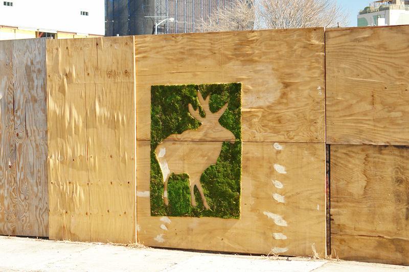 эко-граффити из мха: лось