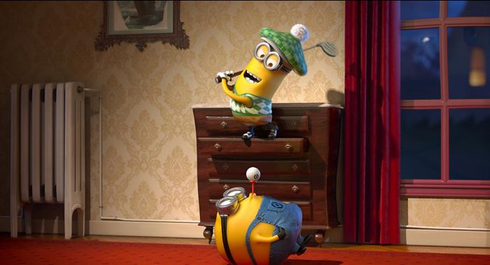 Гадкий я 2 (Despicable Me 2): миньоны, кадры из мультфильма миньоны играют в гольф в доме
