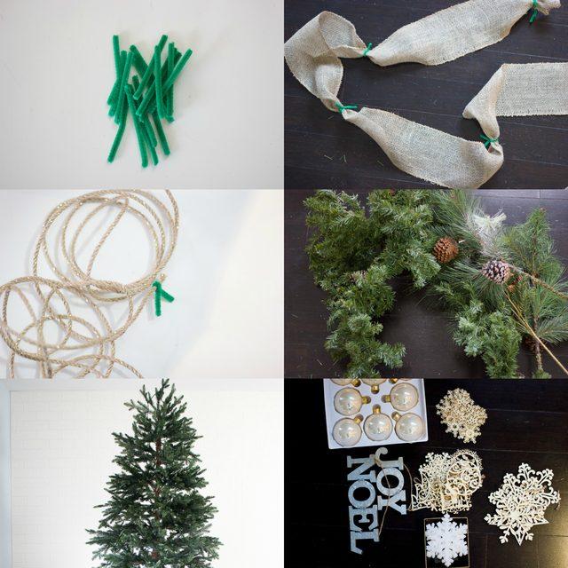 Как грамотно украсить елку ленточными гирляндами - исходные материалы