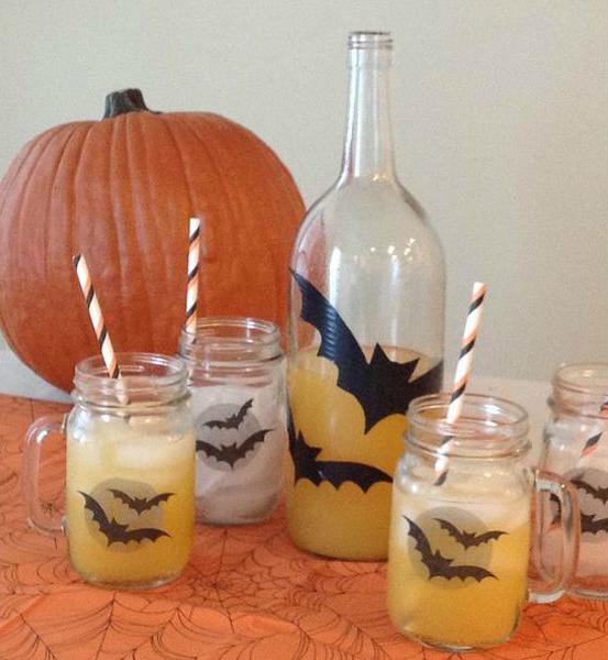 Хэллоуин украшения и декор: наклейки на посуду