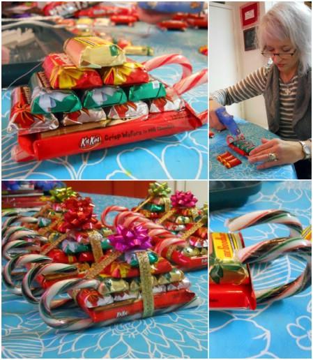 Как выглядят рукодельные подарки, интересные вашим близким - санки из сладостей